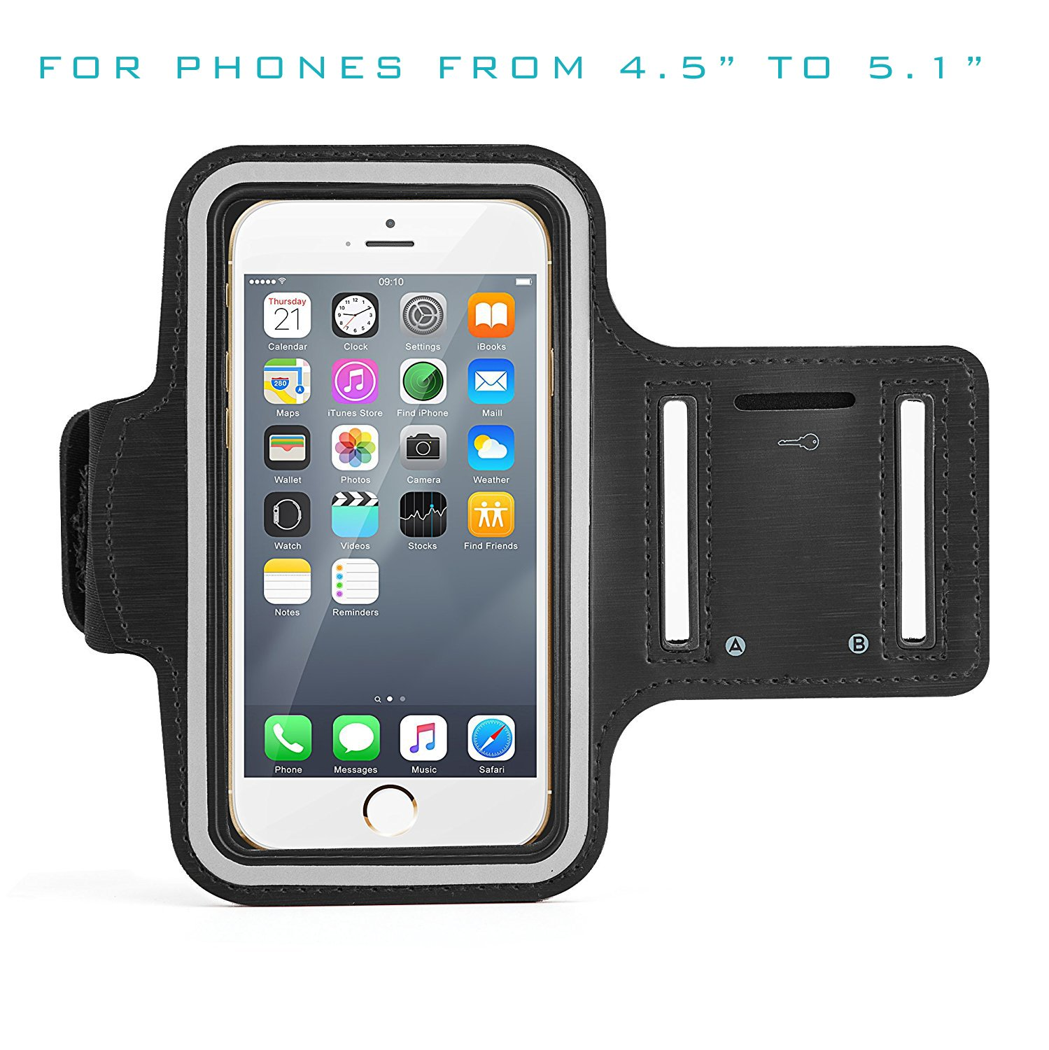 MIIU (TM) Universal Armband for Smartphone Size from 5.2 to 6.0 iPhone X 6s Plus 6 Plus 7 Plus 7S Plus 8 Plus 5.5 inch Armband Case for Galaxy S8 S7 Note 8 Waterproof Running Sports Armband with Reflector Adjustable Velcro Key Slot DIGIPARTS