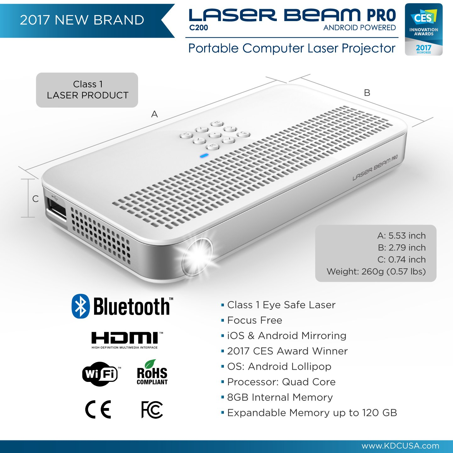 """Laser Beam Pro C200, FDA Assessed Class 1 Laser projector, Focus Fee 20-150"""", HD 768P native resolution, 120 min rechargeable battery, compatible w/ HDMI support devices, built-in Internet, YouTube by Laser Beam Pro (Image #3)"""