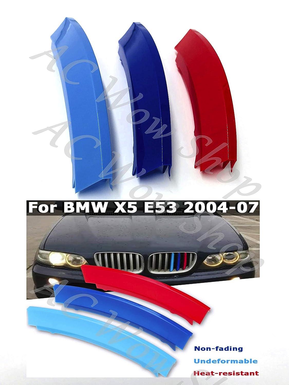 kompatibel mit B M W X5 E53 2004-2007 7 BARS Motorhaube K/ühlergrill Streifen Abdeckung M Performance Power Sport Tech Paket Abzeichen