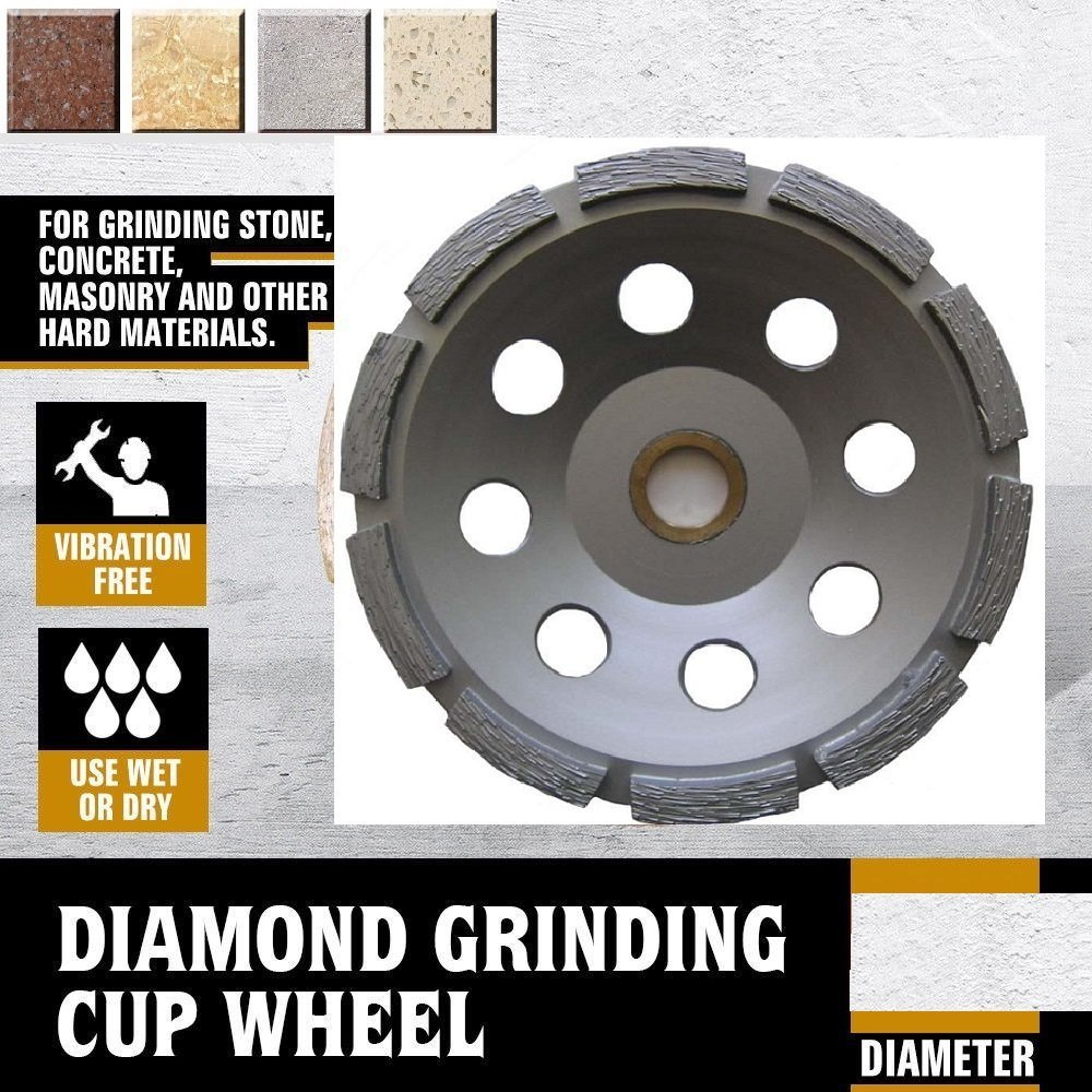 7 Inch (pack of 2 Pieces) Diamond Single Row Grinding cup wheel segmented concrete stone birck cement surface grinding coating paint remove mortar leveling heavy duty abrasive wheel sanding disc