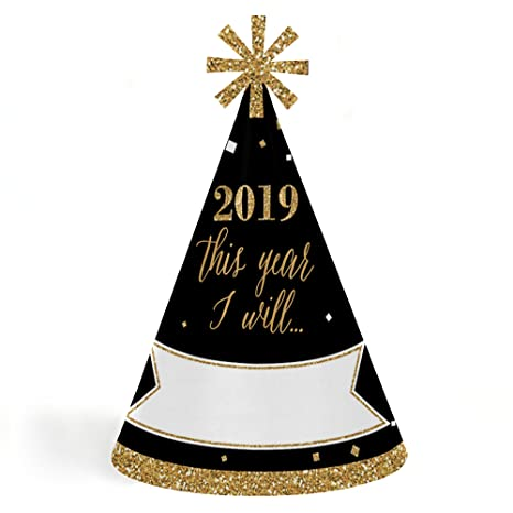 amazoncom new years eve gold 2019 cone new years eve resolution party hats for kids and adults set of 8 standard size toys games