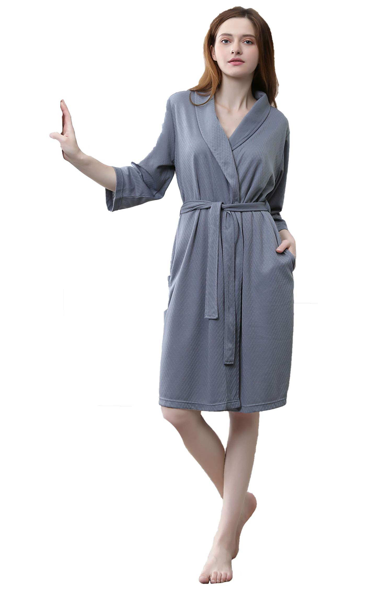 Cahayi Waffle Women Bathrobe Lightweight Men Robe Short Kimono Sleepwear Summer