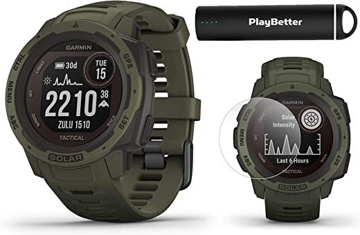 Garmin Instinct Solar Tactical (Moss) Power Bundle | with PlayBetter HD Screen Protectors & Portable Charger | Rugged, Heart Rate | 2020 Model, Solar Charging | Ultimate Outdoor GPS Watch
