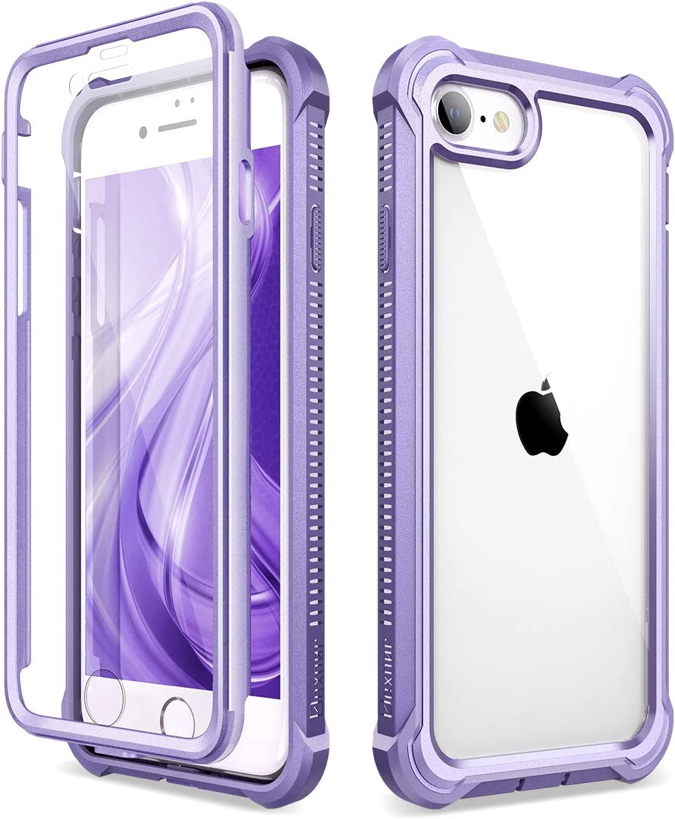 """Dexnor iPhone SE 2020 Case, iPhone 8 Case, iPhone 7 Case with Screen Protector Clear Rugged 360 Full Body Protective Shockproof Hard Heavy Duty Bumper Case for iPhone SE (2020)/8/7 4.7"""" - Purple"""