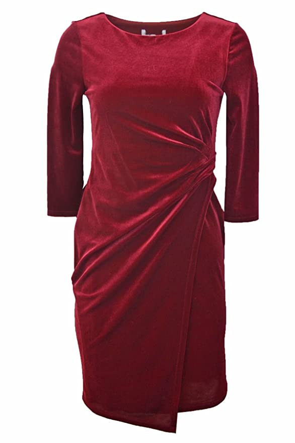 53188db3 DEBENHAMS Wine Red Velour Wrap Dress Petite RRP £39: Amazon.co.uk: Clothing