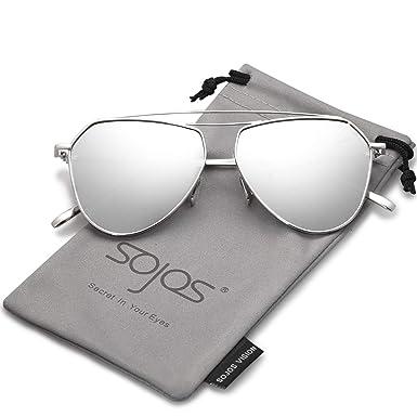 SOJOS Gafas De Sol Mujer Hombre Clásico Doble Flex Memory Puente Metal Lentes Espejo SJ1040 Marco Plateado/Lentes Plateadas