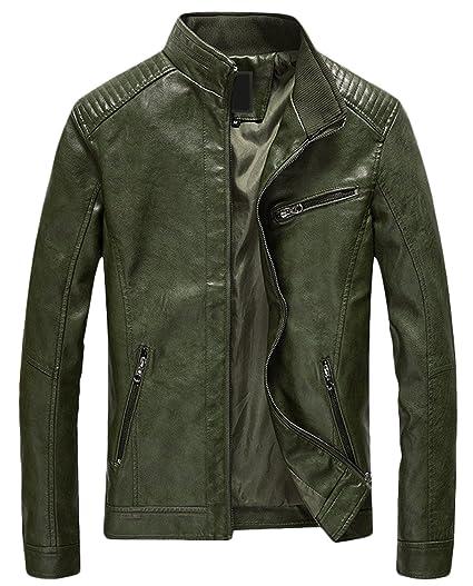 de6b85235 Youhan Men's Casual Zip Up Slim Bomber Faux Leather Jacket