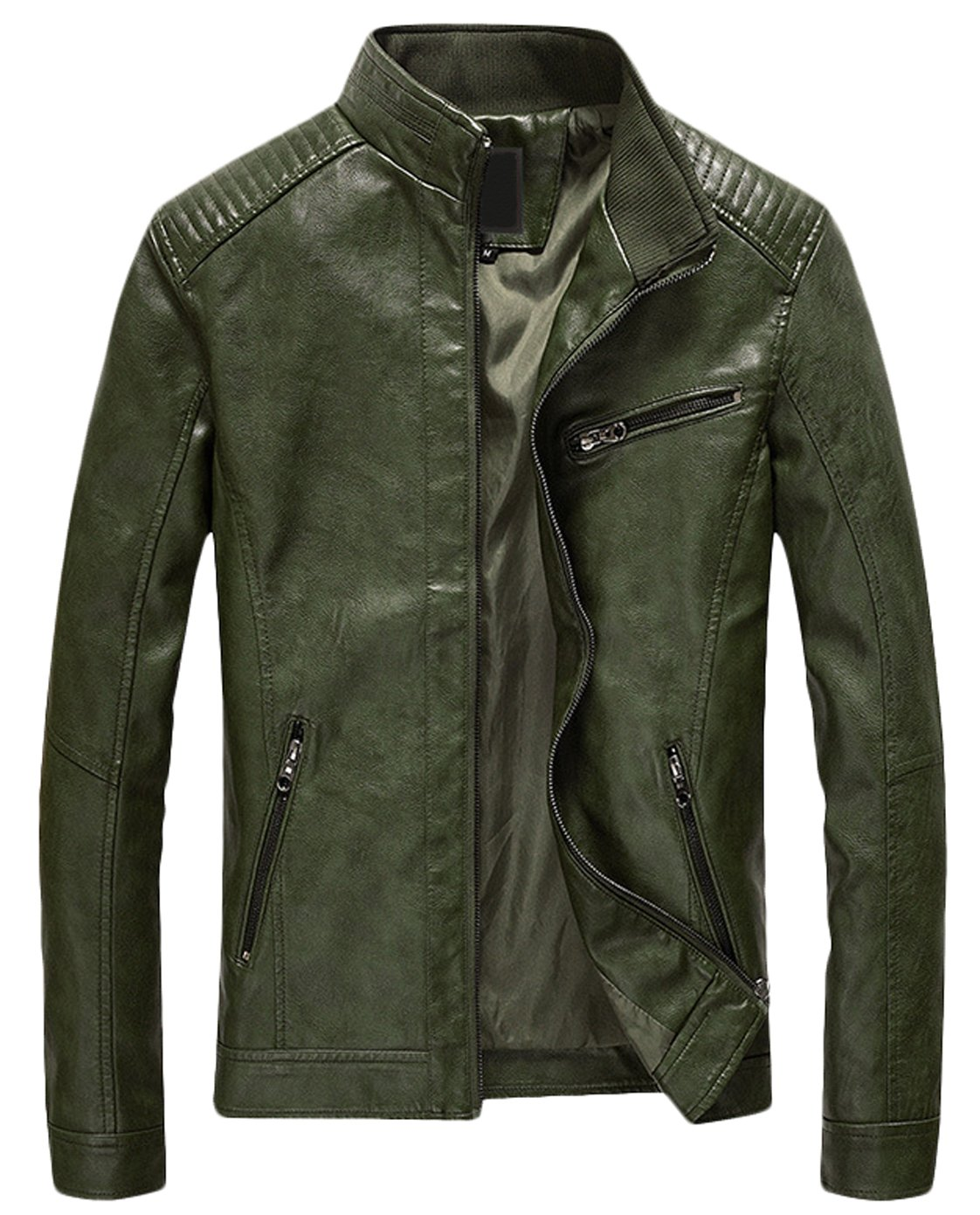 Youhan Men's Casual Zip up Slim Bomber Faux Leather Jacket (Medium, Army Green)