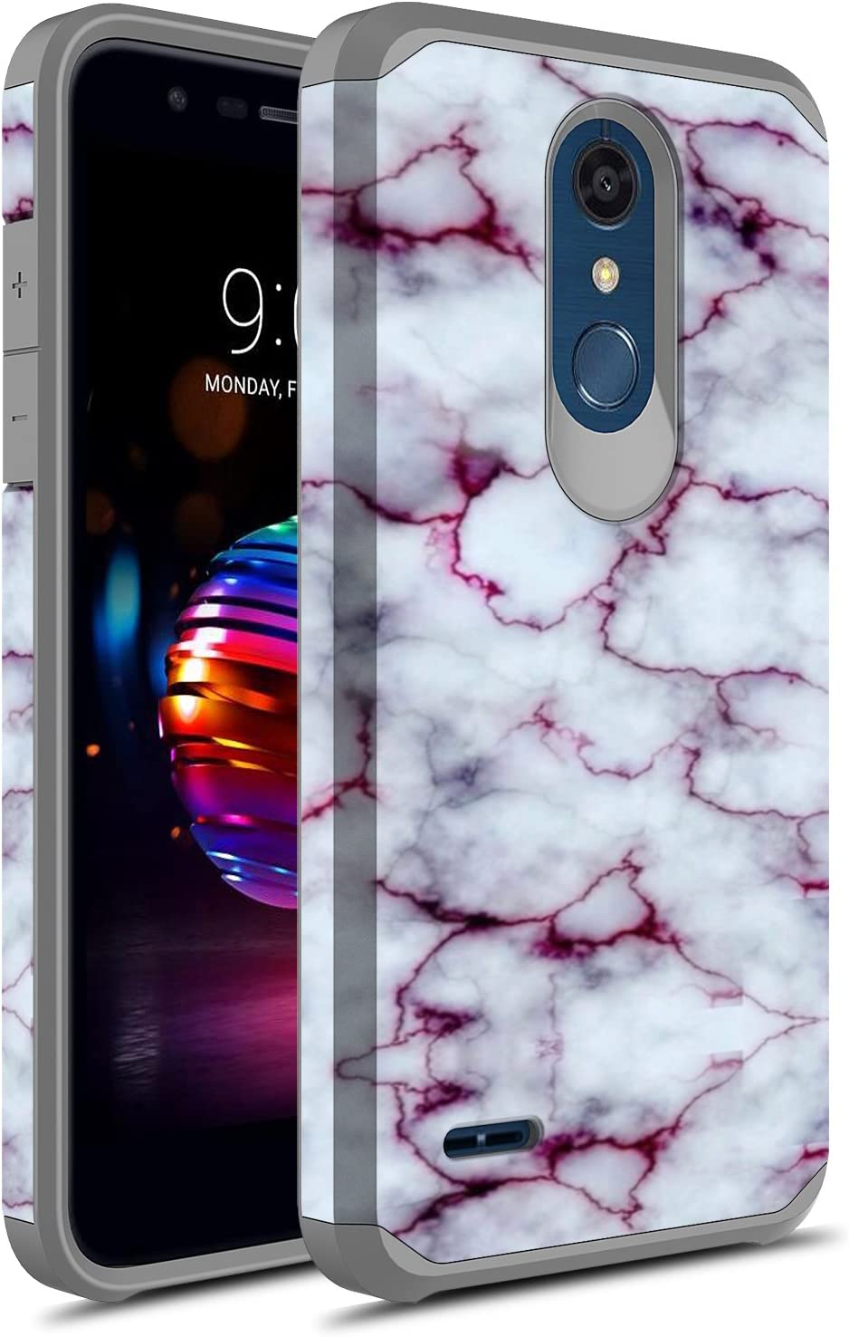 LG K30 Case, LG Premier Pro LTE Case, LG Harmony 2 Case, LG Phoenix Plus Case, Rosebono Slim Hybrid Dual Layer Shockproof Graphic Cover Armor Case for LG K10 2018 (Purple Marble)