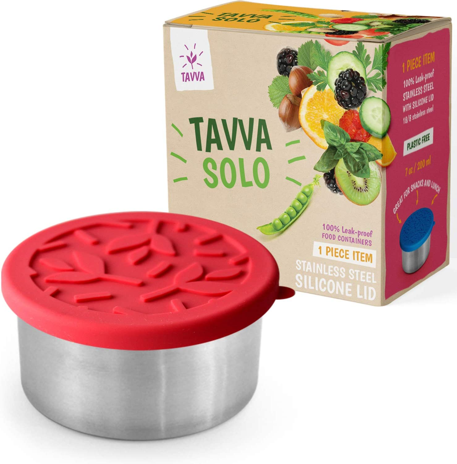 TAVVA Stainless Steel Food Container 7oz - Premium Stainless Steel Container with Food-grade Silicone Lid - Leakproof, Easy to Open – Also Suitable as Toddler Lunch Box and Kids Lunch box
