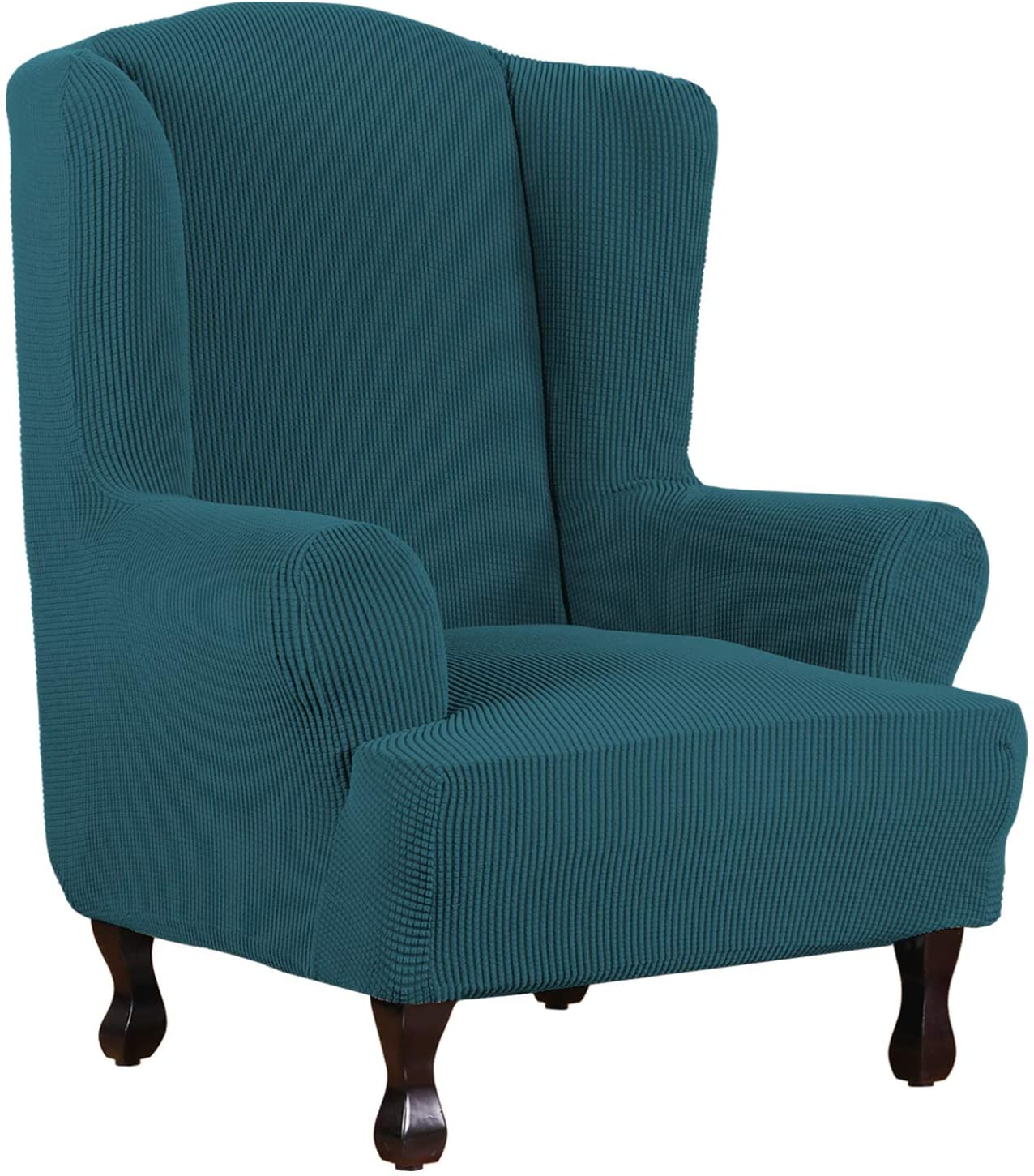 1 Piece Super Stretch Stylish Furniture Cover/Wingback Chair Cover Slipcover Spandex Jacquard Checked Pattern, Super Soft Slipcover Machine Washable/Skid Resistance (Wing Chair, Deep Teal)