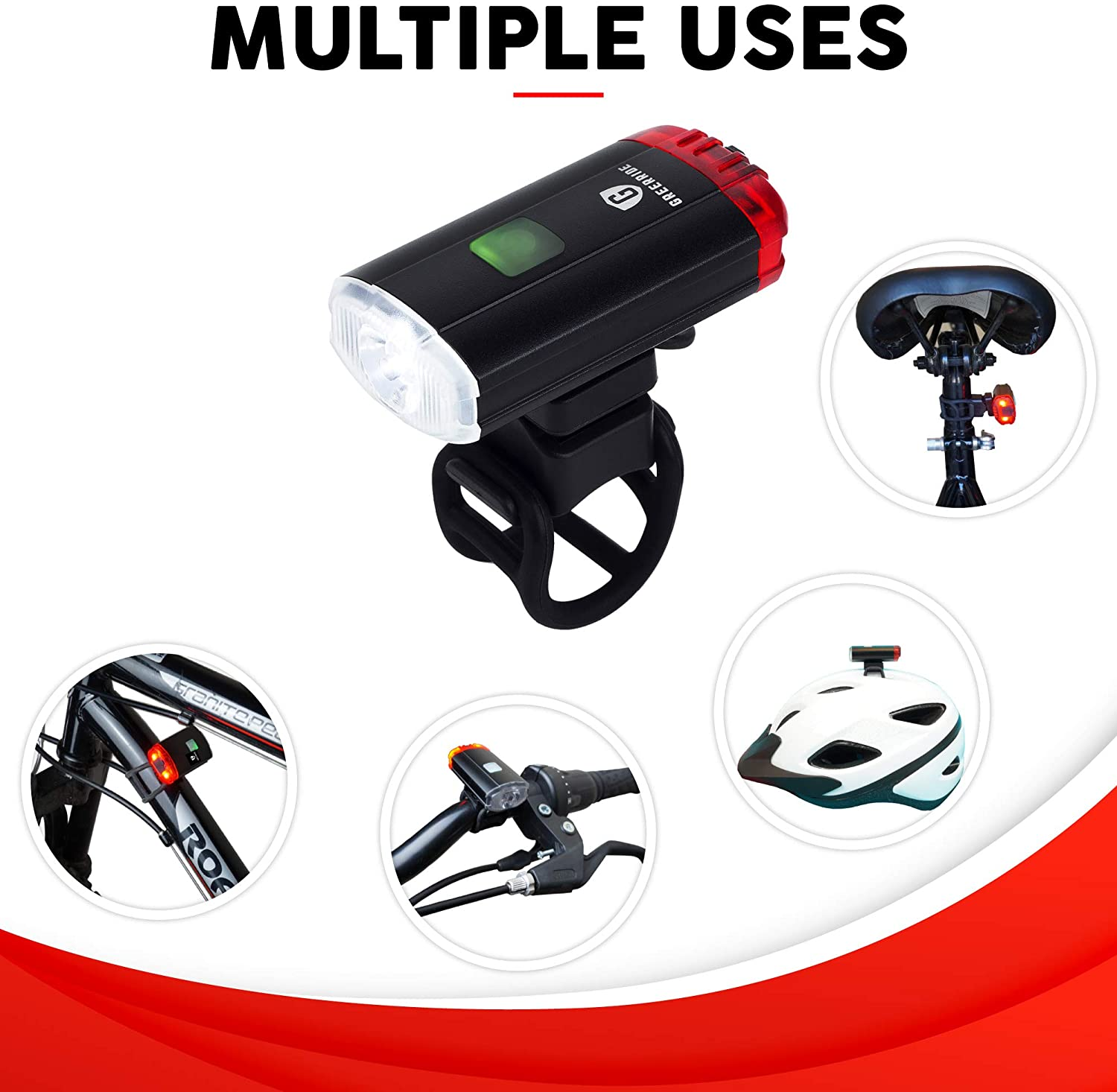 USB LED Headlight with Multi Modes and Adjustable Mount-Day or Night Riding Gift Front and Rear Bright Safety Bicycle Lights to Make You Visible On the Road Greerride Rechargeable Bike Helmet Light