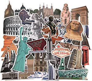 Famous Landmarks and Attractions Stickers, 64 pcs Waterproof Vinyl Sticker Pack for Luggage, Travel Case, Scrapbooking, Journaling, Laptop, Car, Armoire Wardrobe, Fridge
