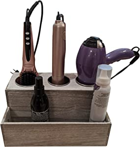 Gianna's Home Rustic Farmhouse Wooden Hair Dryer Holder Vanity Bathroom Supplies Organizer