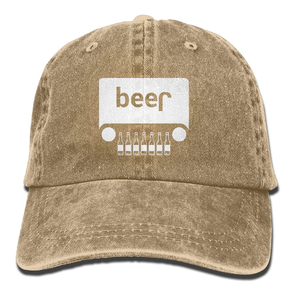 Beer Jeep Funny DrinkingUnisex Washed Cotton Low Profile Adjustable Baseball Cap