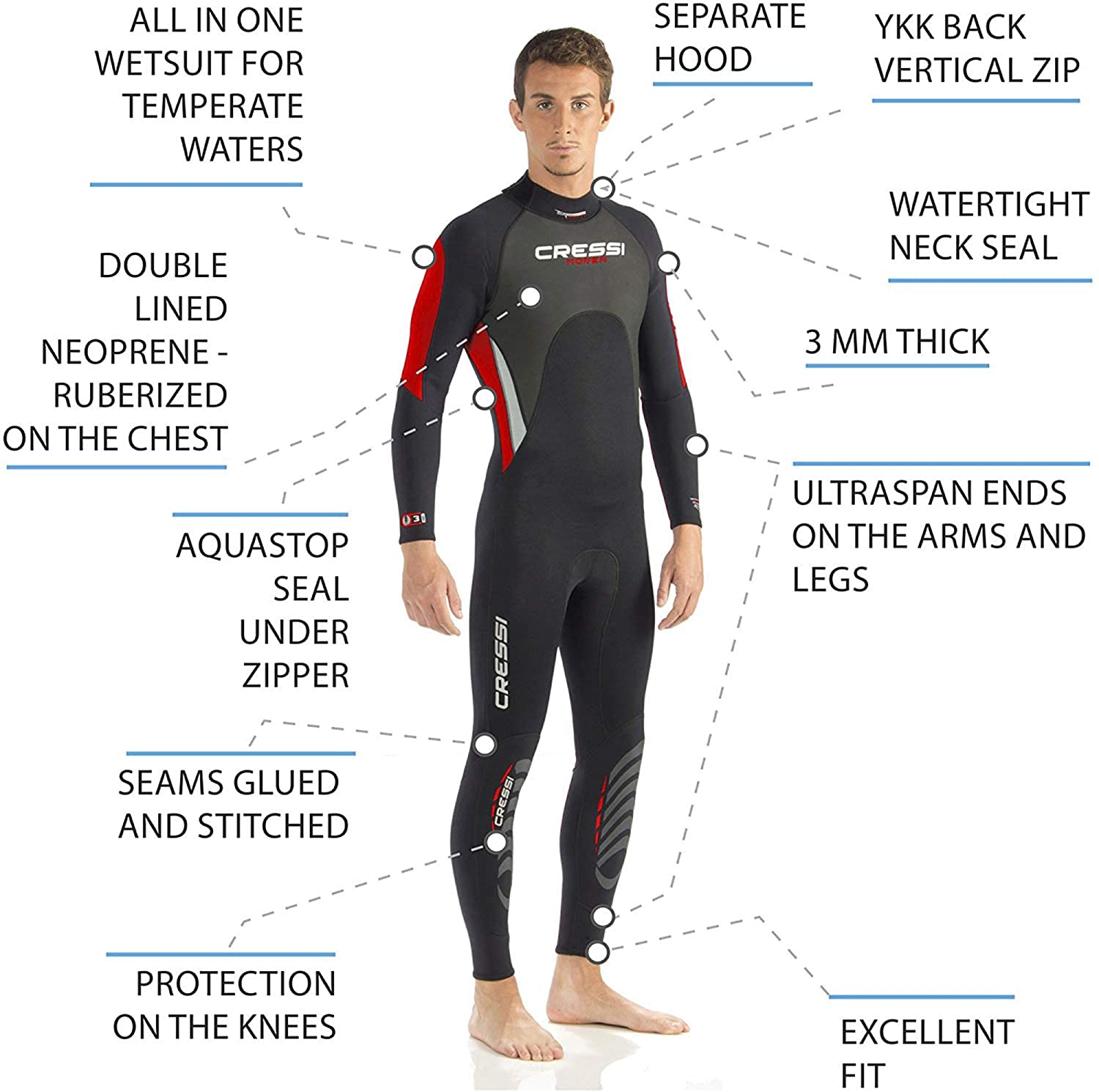 Muta Monopezzo Neoprene Ultrastretch Uomo Cressi Morea Wetsuit Full 3mm