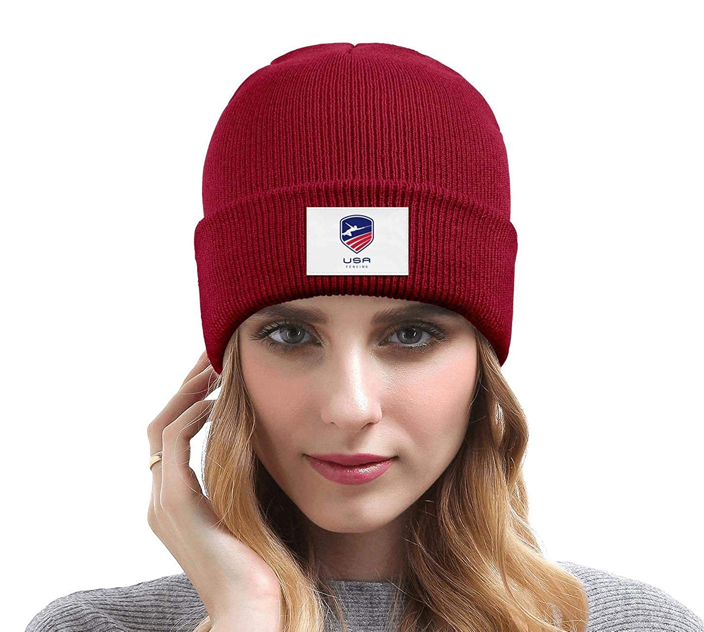 United-States-Fencing-Association/_ Men Winter Hiking Knit Hat Keep Warm Daily Pattern