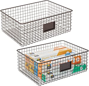 mDesign Farmhouse Decor Metal Wire Food Organizer Storage Bin Baskets with Label Slot for Kitchen Cabinets, Pantry, Bathroom, Laundry Room, Closets, Garage - 2 Pack - Bronze