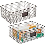 mDesign Farmhouse Decor Metal Wire Food Organizer Storage Bin Baskets with Label Slot for Kitchen Cabinets, Pantry, Bathroom,