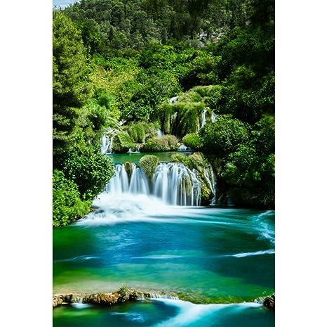 pick up best sell super cheap Cassisy 1x1,5m Vinyle Printemps Toile de Fond Photo Scène de forêt de  Jungle Montagne Cascade Lac Bleu Fond De Studio Photo Adulte Portrait ...
