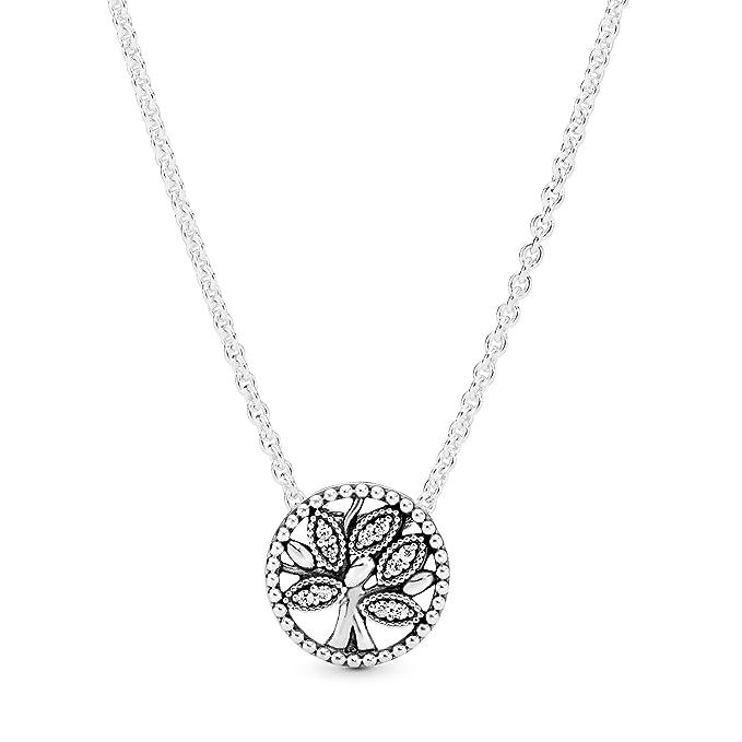 Pandora 397780CZ-45 Collar con Colgante para Mujer, Plata