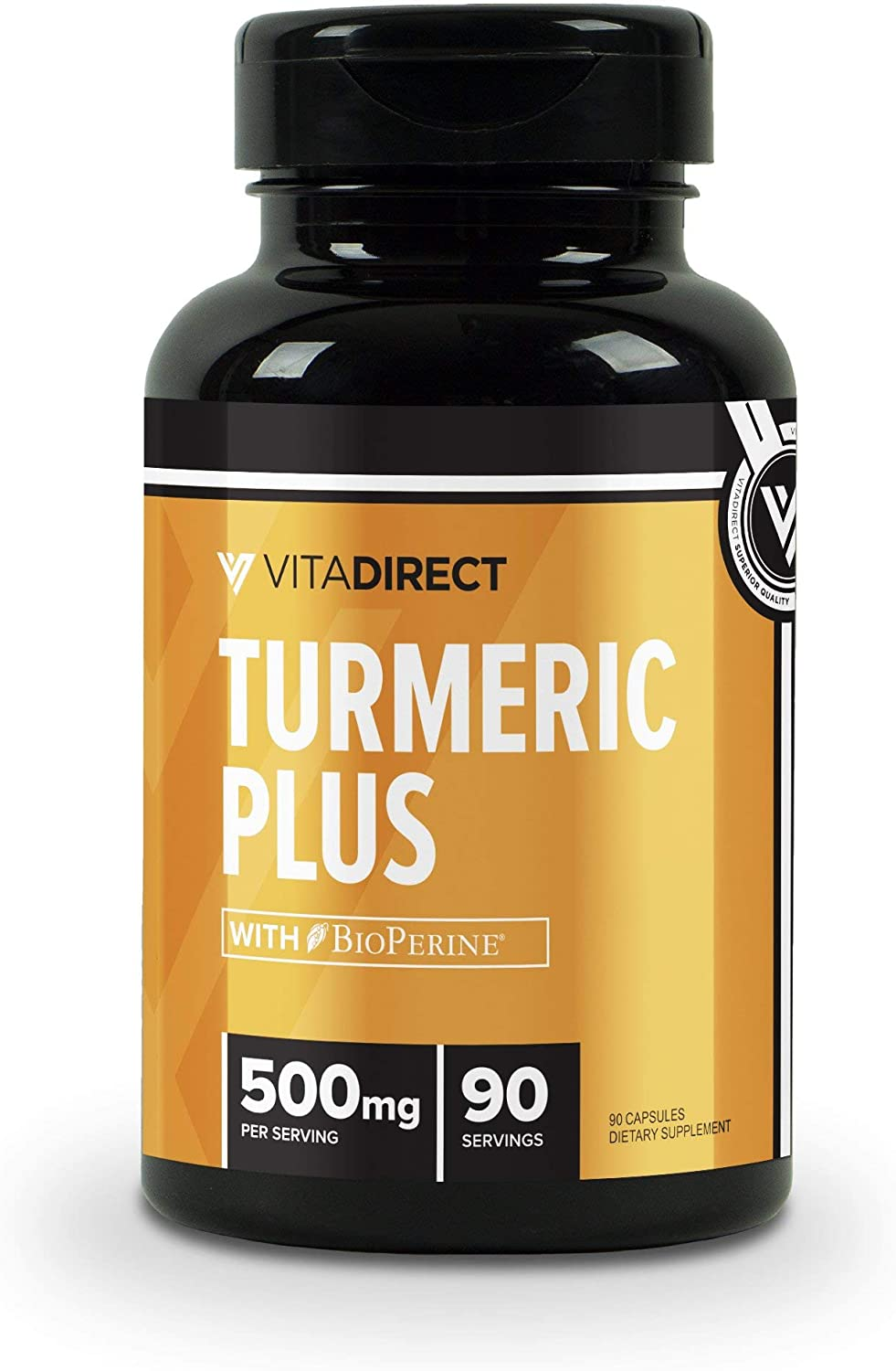 VitaDirect Premium Turmeric Curcumin Plus Supplement with 20mg BioPerine, Black Pepper Extract 500mg, 90 Vegetarian Capsules, 95 Curcuminoids Supplement