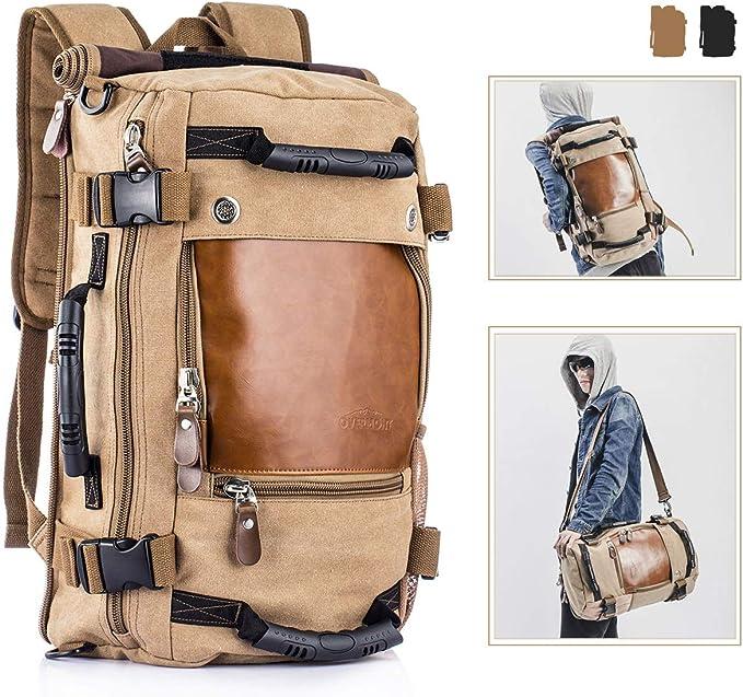 Overmont Vintage Herren Rucksack Multifunktionale Tasche für Reise Camping  Wandern Ausflug Outdoor Khaki/Schwarz: Amazon.de: Bekleidung