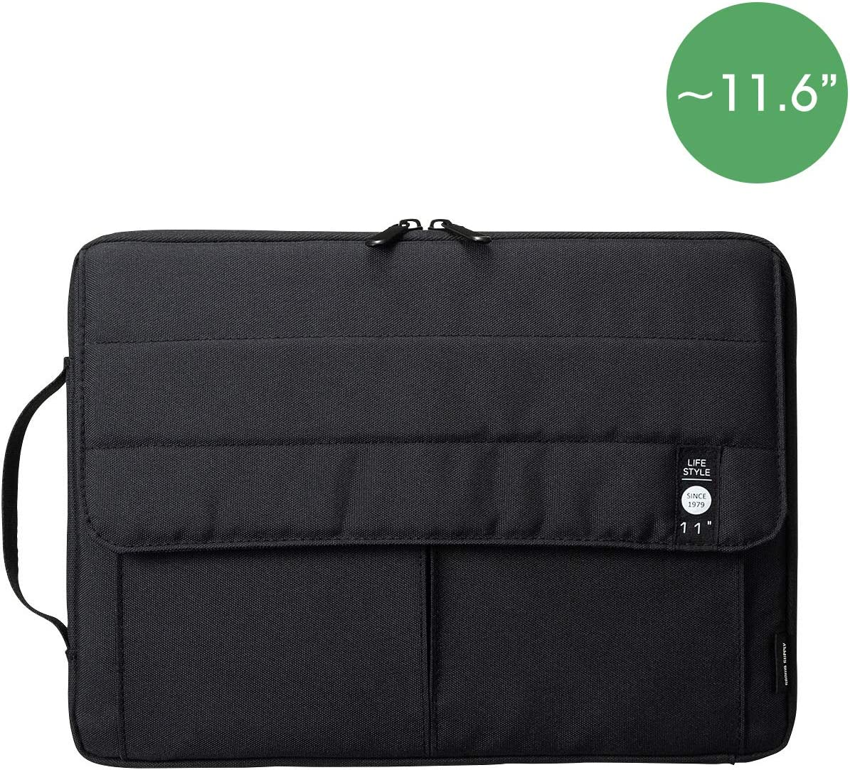 SANWA (Japan Brand) Laptop Computer Sleeve Case, Sleeve Bag Compatible with 13 inch MacBook Pro, MacBook Air, Pad,HP, Dell, Notebook Computer, Water Resistance Case Cover with Pocket, Black