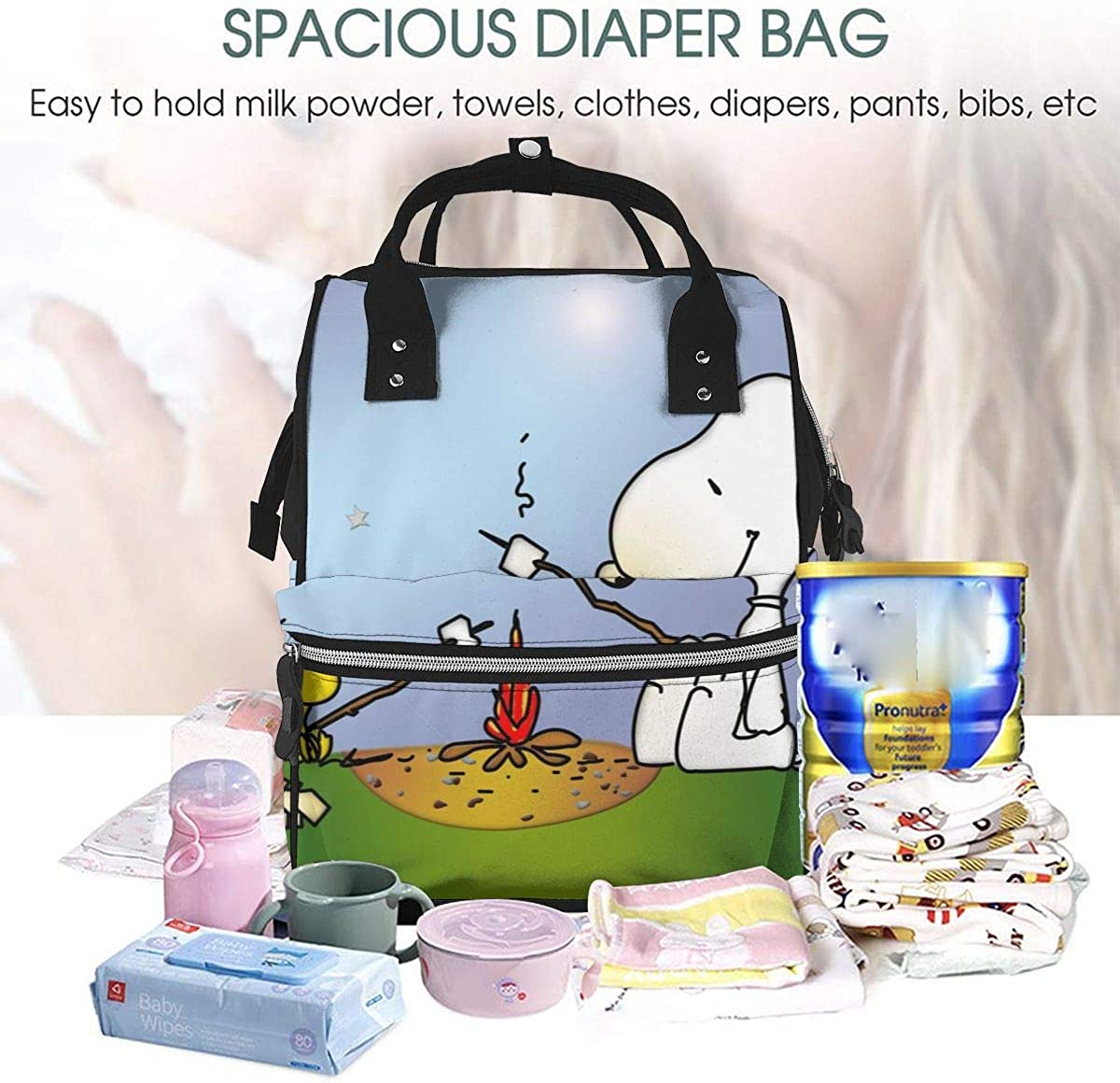 Diaper Bag Backpack Snoopy Woodstock Camping Multifunction Waterproof Travel Backpack Maternity Baby Nappy Changing Bags