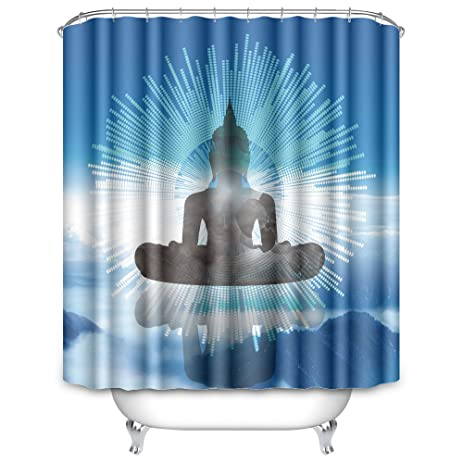 OFloral Waterproof Polyester The Blue Shine Black Buddha Shower Curtain Size 72quot