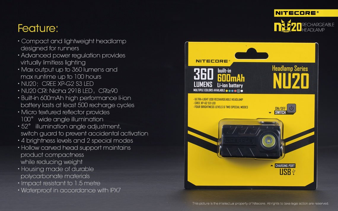 Nitecore NU20 Ultra-Light USB Rechargeable LED Headlamp with LightJunction USB Car and Wall Plugs - - Amazon.com