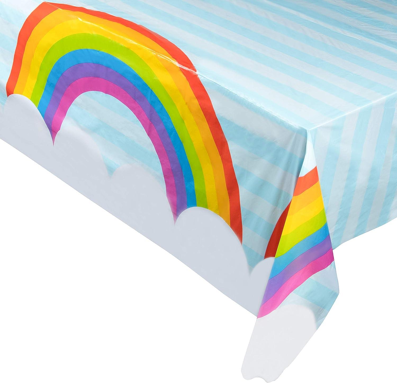 Amazon Com Juvale 3 Pack Rainbow Plastic Tablecloth Rectangle