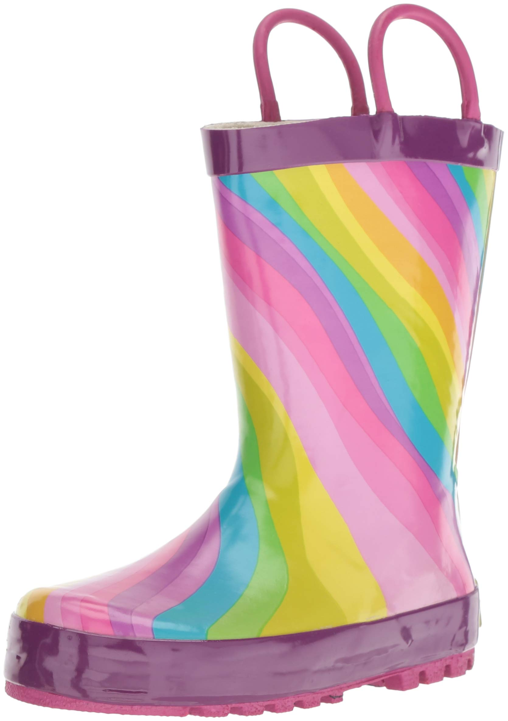 Western Chief Girls' Waterproof Printed Rain Boot, Rainbow, 7/8 Medium US Toddler