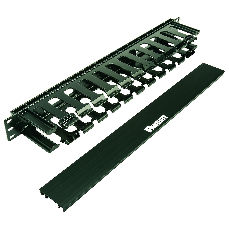 Panduit WMPFSE Horizontal Cable Manager, Black, 1 RU, Black