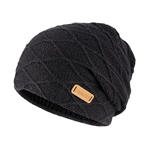 dfb86d95326 OMECHY Mens Winter Warm Knitting Hats Thick Wool Baggy Slouchy Beanie Hat  Skull Hat Ski Cap