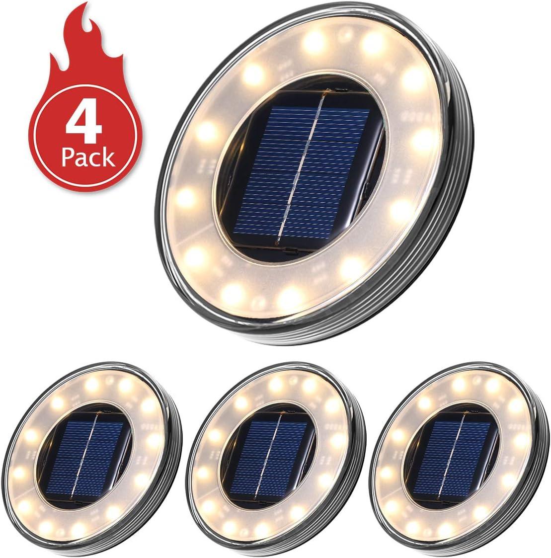 Luces Solares Led Exterior,Tomshine 4 Pack 12 LEDs Luces Solares para Jardín,IP68 Impermeable,Focos Solares LED para Exterior, Jardín, Terraza, Césped, Pasarela(Blanco Cálido): Amazon.es: Iluminación