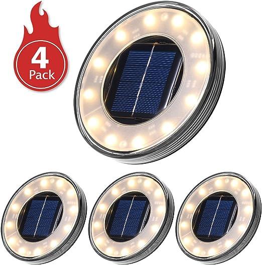 Luces Solares Led Exterior,Tomshine 4 Pack 12 LEDs Luces Solares ...