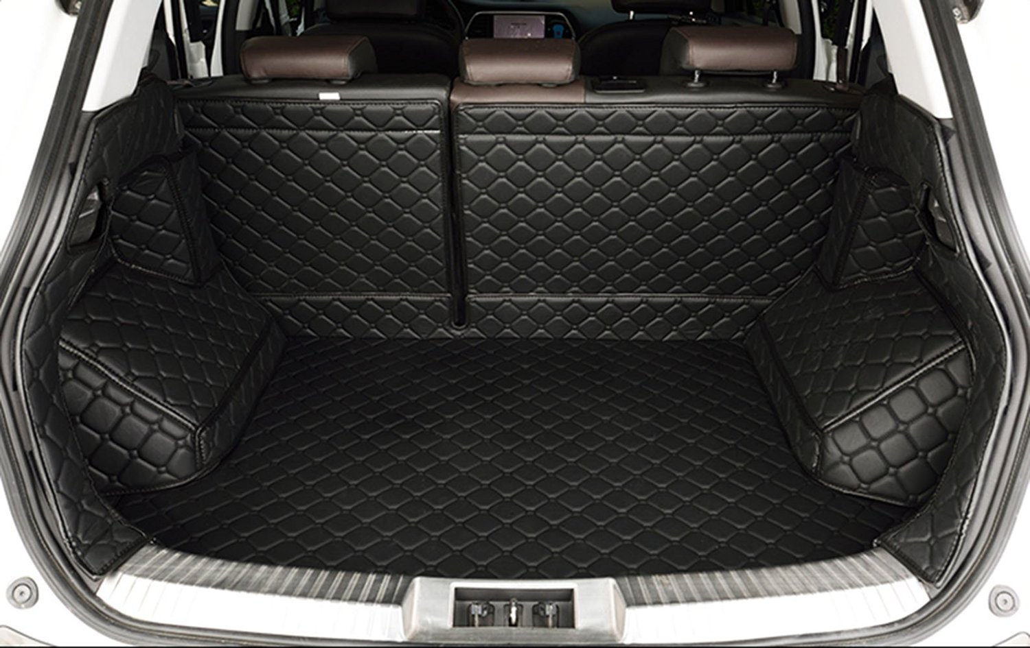 Auto mall Waterproof Custom Fit Full Covered Trunk Mats Cargo Liners Leather Boots Liner Pet Mats for Mercedes R Class R300 R320 R350 R400 2009-2015 7 seats Black