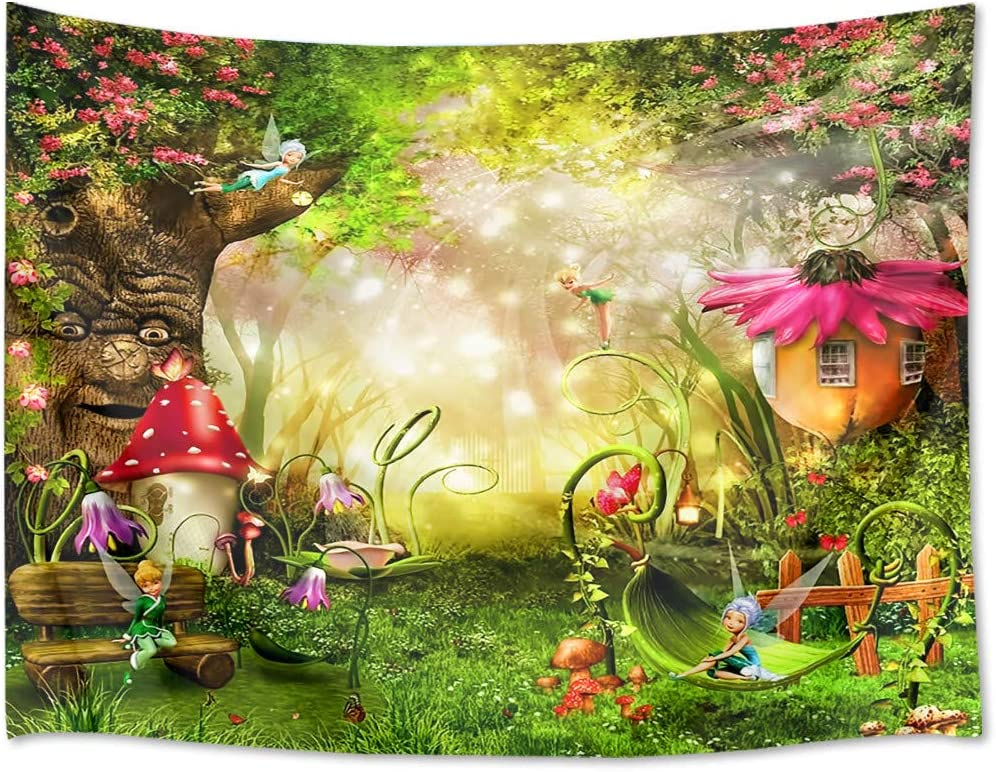 HVEST Fairy Tale Forest Tapestry Wall Hanging Spring Scenery Tapestry Magic Mushroom House and Tree Tapestry for Kids Girls Bedroom Living Room Dorm Party Decor,60Wx40H inches