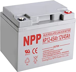 NPP NP12-45Ah Rechargeable AGM Lead Acid 12V 45Ah Battery with Button Style Terminals