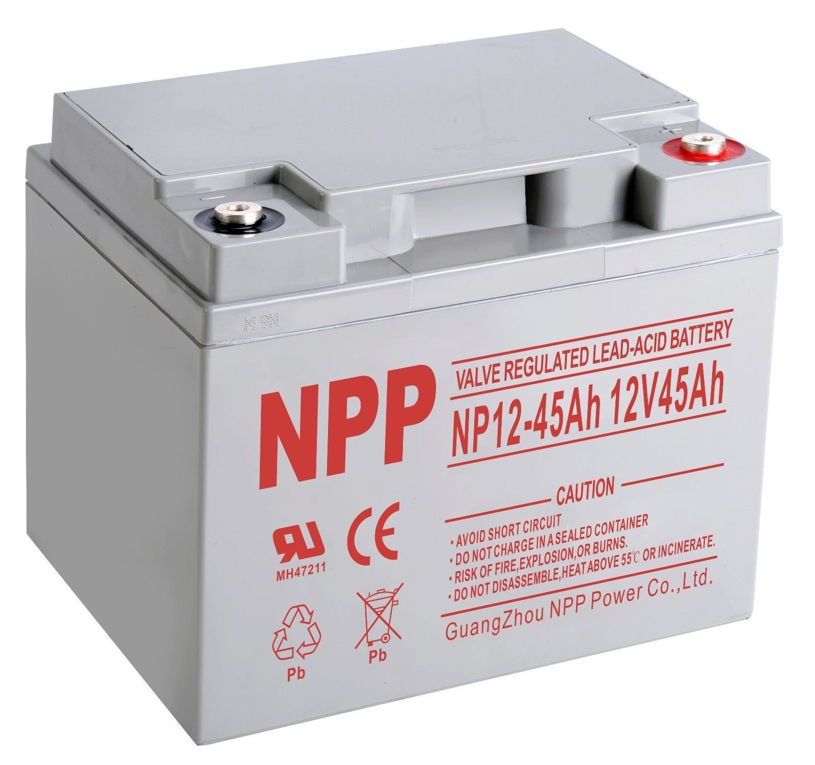 NPP NP12-45Ah Rechargeable AGM Lead Acid 12V 45Ah Battery with Button Style Terminals by NPP