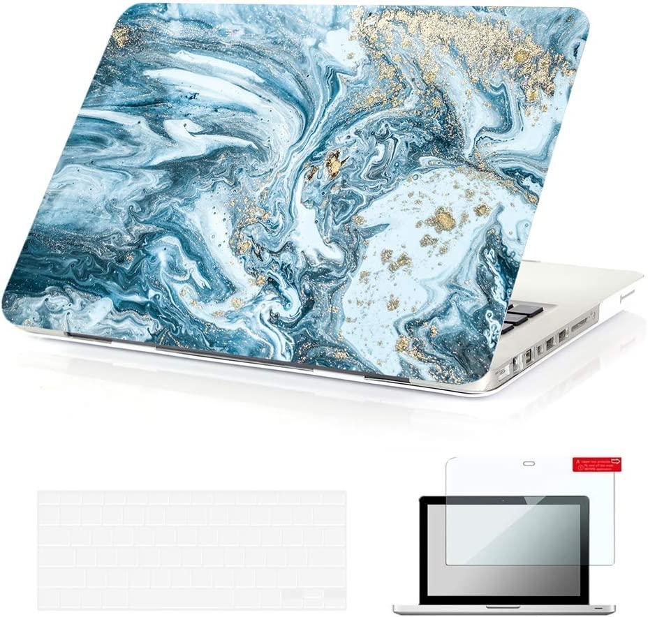 Se7enline Old MacBook Pro 13 Inch Case with CD-ROM Case 2009-2012 Frosted Laptop Hard Case A1278 for MacBook Pro 13.3 with TPU Keyboard Cover,Screen Protector, Watercolor Blue Quicksand