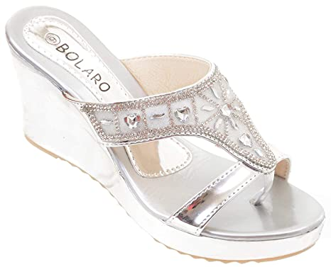 b566c908df Amazon.com: Metallic Crystal Bling Mesh Vegan Suede Wedge Flip Flop Sandal  Women's (5.5, Silver): Clothing