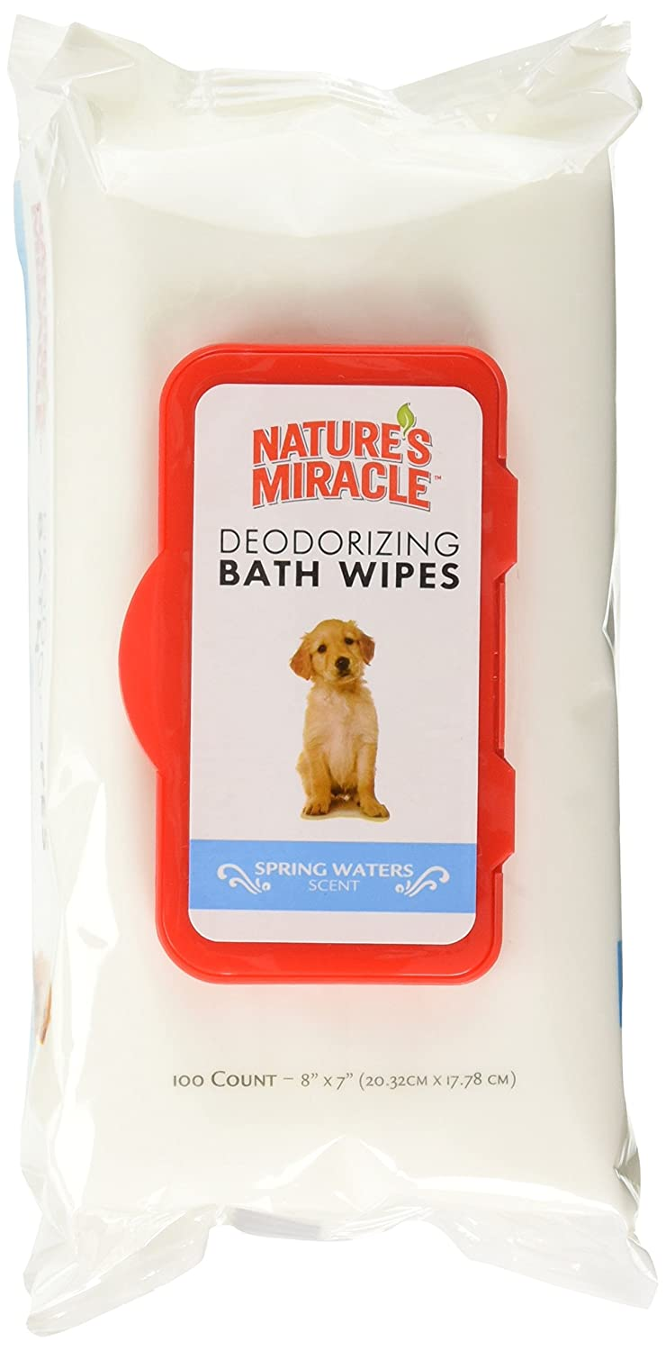 Nature's Miracle Deodorizing Bath Wipes Spring Waters Scent (2 Packs of 100 Count)
