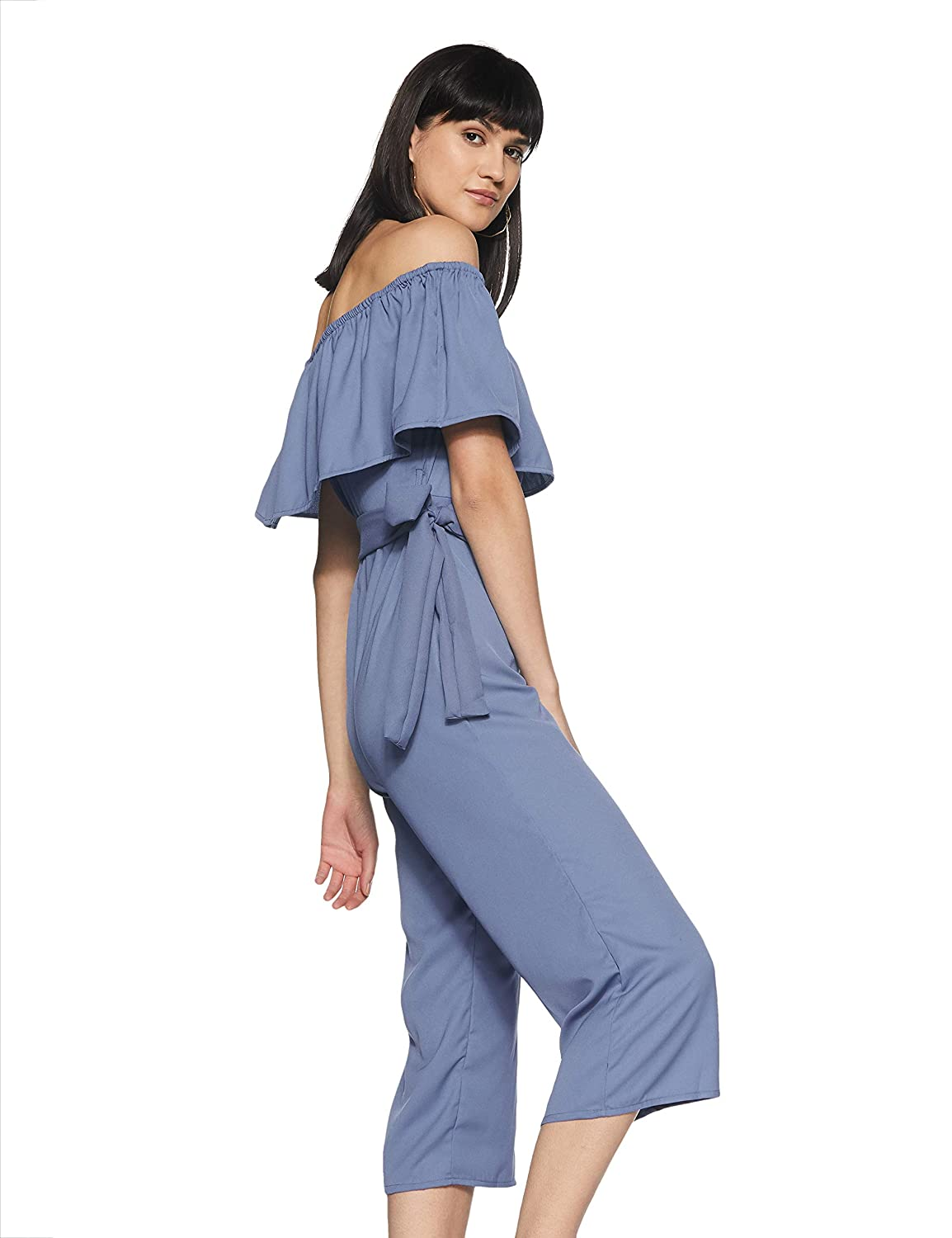3f62327fd1c9 Miss Chase Women s Blue Off-Shoulder Ruffled Midi Jumpsuit  Amazon.in   Clothing   Accessories