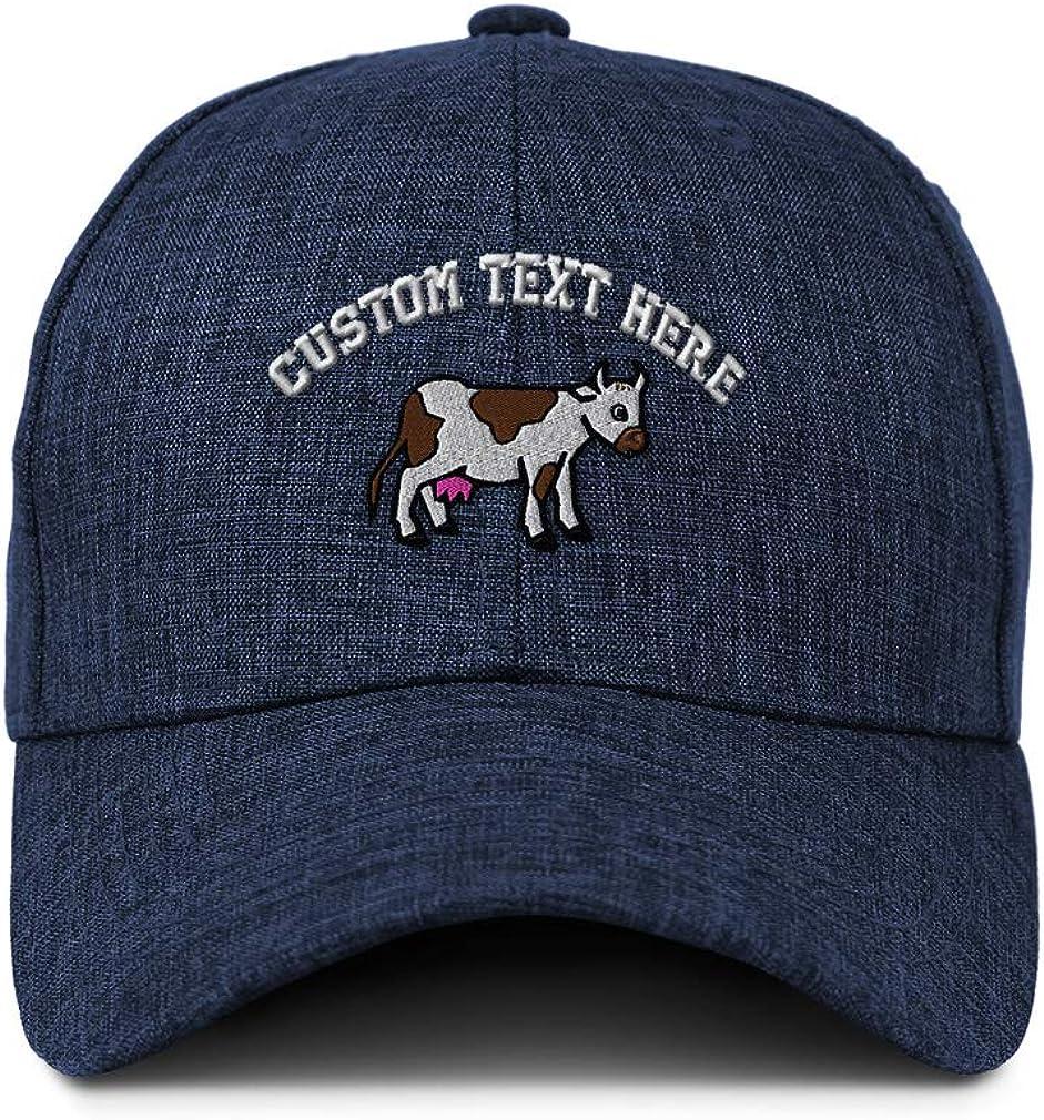 Custom Baseball Cap Farm Cow Side Body Embroidery Casual Hats for Men /& Women