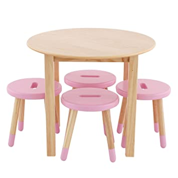 max u0026 lily natural wood kid and toddler round table set with 4 pink stools - Toddler Wooden Table And Chairs