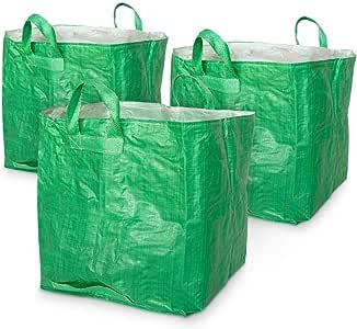 Navaris Set de 3X Sacos Reutilizables para jardín - Bolsa para desechos de jardinería - Resistentes Sacos con Cierre y Capacidad de hasta 80 Kilos: Amazon.es: Jardín