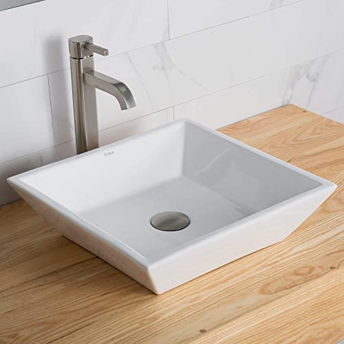 Kraus C-KCV-125-1007SN White Square Ceramic Sink and Ramus Faucet Satin Nickel