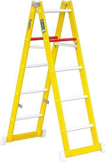 Escalera de tijera de doble subida aislante, fabricada en fibra de vidrio. Según norma UNE-EN 131 (5 peldaños): Amazon.es: Bricolaje y herramientas